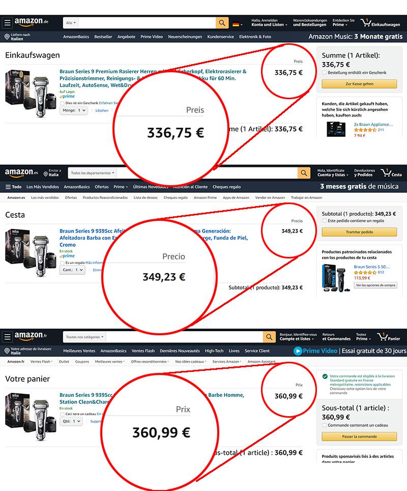 prezzi amazon store europei